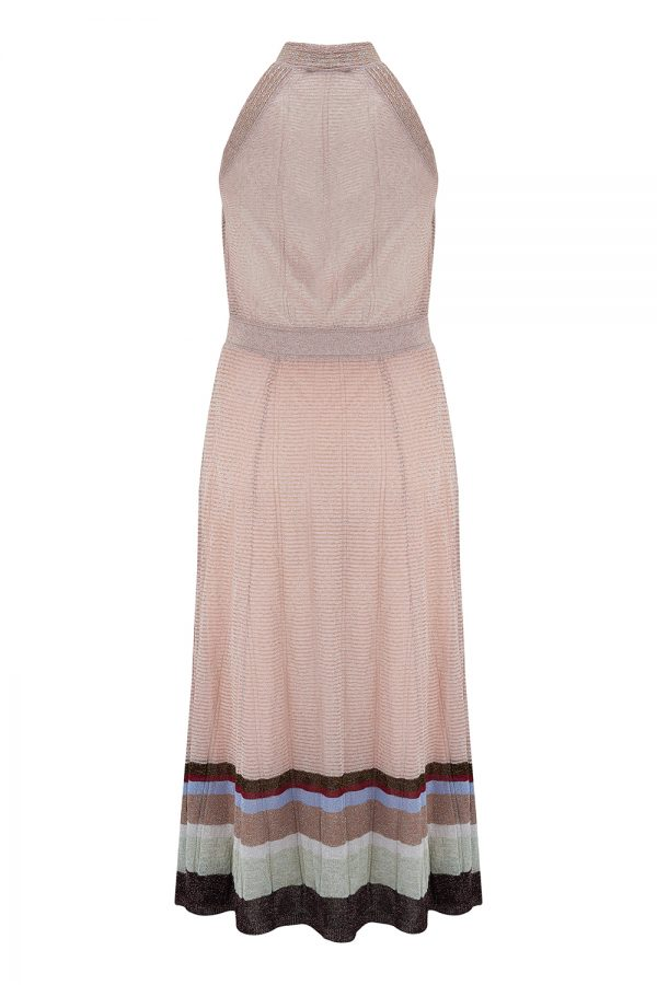 Missoni Women's Crossover Halterneck Lamé Dress Pink - New SS21 Collection