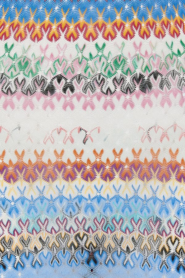 Missoni Women's Long-Sleeved Crochet-knit Mini Dress Blue - New SS21 Collection