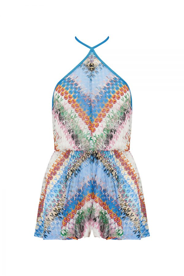 Missoni Women's Wave Pattern Playsuit Blue - New SS21 Collection