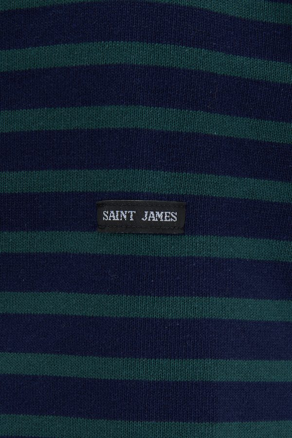Saint James Guildo R A Men's Breton Striped Top Green/Navy - New SS21 Collection