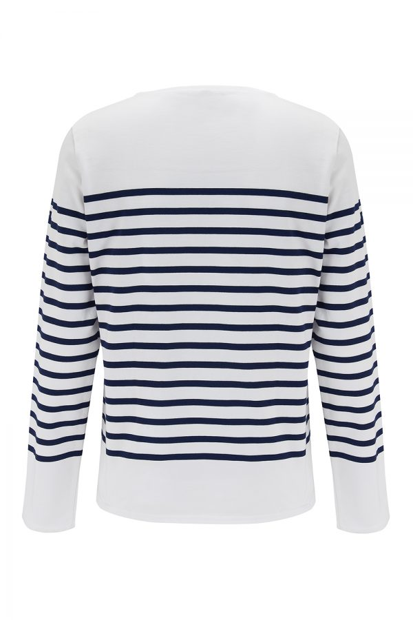 Saint James Naval Men's Striped Long-sleeved Top White/Navy - New SS21 Collection