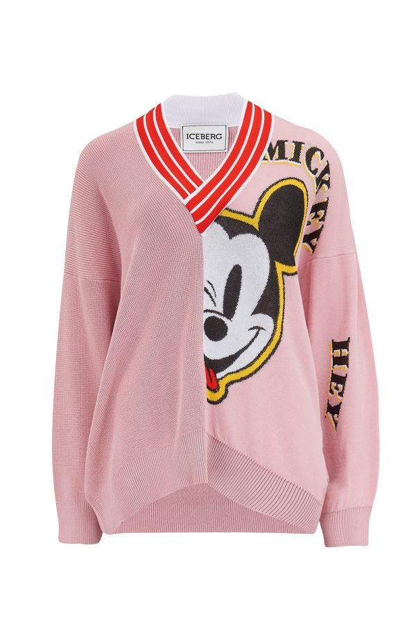 Iceberg Women's Oversized Micky Mouse V-neck Sweater Pink - New SS21 Collection
