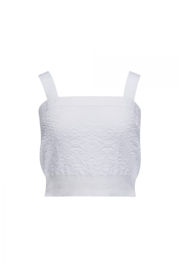 Iceberg Women's Textured Logo Crop Top White - New SS21 Collection