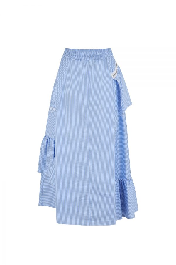 Iceberg Women's Side Ruffle Striped Midi Skirt Blue - New SS21 Collection