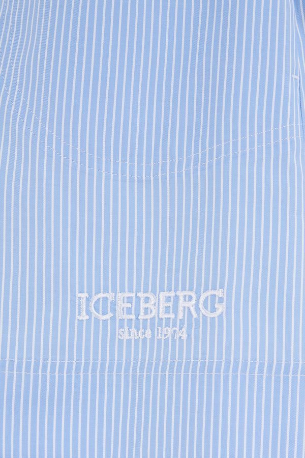 Iceberg Women's Striped High Waisted Shorts Blue - New SS21 Collection