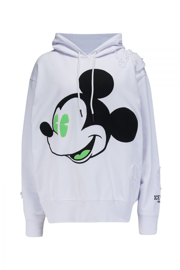 Iceberg Women's Mickey Mouse Graphic Cotton Hoodie White - New SS21 Collection