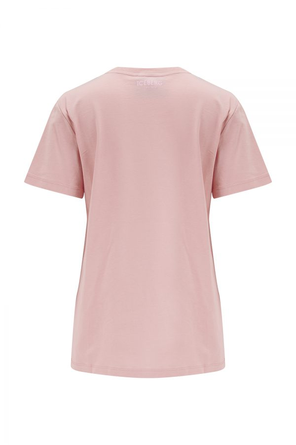 Iceberg Women's Embroidered Mickey Mouse T-shirt Pink - New SS21 Collection
