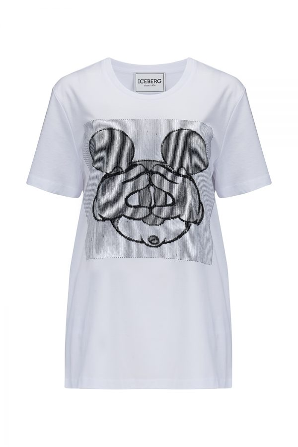 Iceberg Women's Mickey Mouse Motif T-shirt White - New SS21 Collection