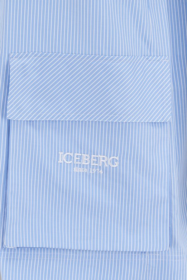 Iceberg Women's Pinstripe T-shirt Dress Blue - New SS21 Collection