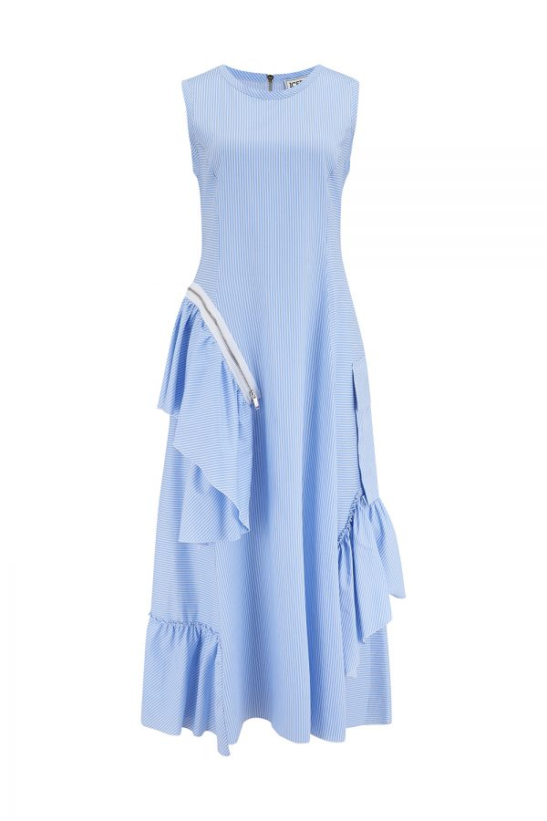 Iceberg Women's Pinstripe Ruffle-detail Dress Blue - New SS21 Collection