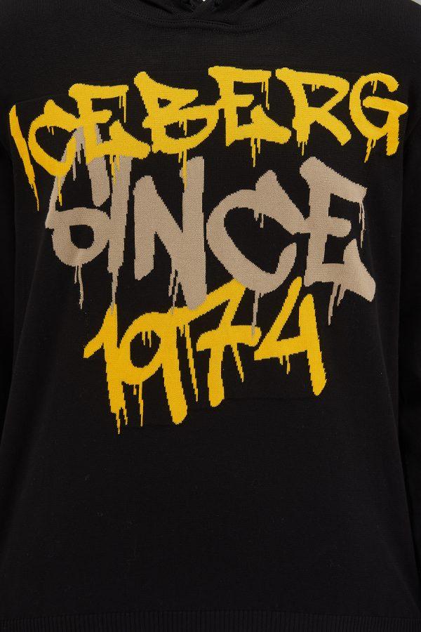 Iceberg Men's Graffiti-style Logo Hoodie Black - New SS21 Collection