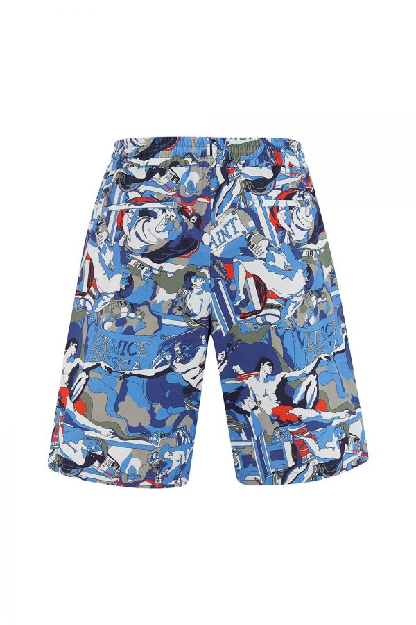 Iceberg Men's Graphic Print Summer Shorts Blue - New SS21 Collection