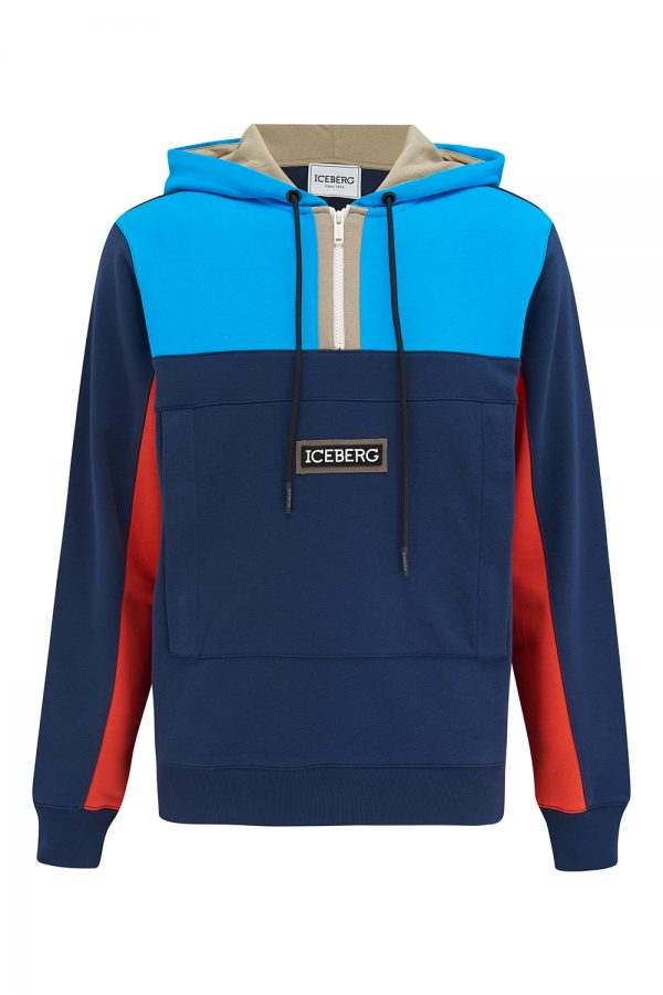 Iceberg Men's Multicolour Panelled Hoodie Blue - New SS21 Collection