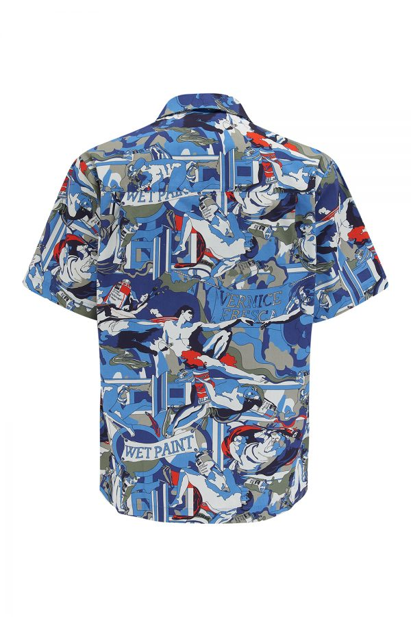 Iceberg Men's Michelangelo Print Summer Shirt Blue - New SS21 Collection