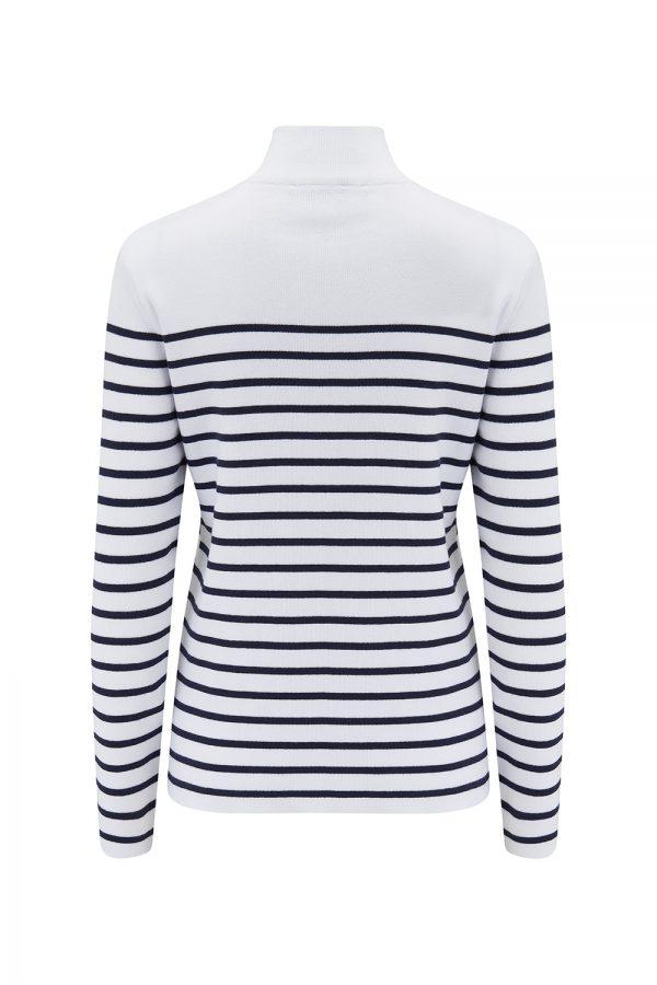Saint James Brooklyn Women's Stripe Zip-up Cardigan White/Navy - New SS21 Collection