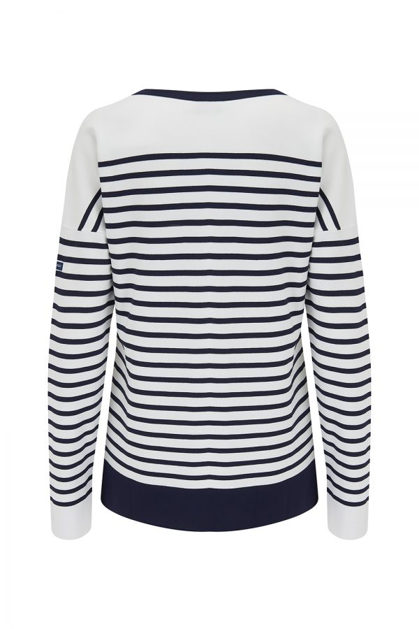 Saint James Ines Women's Fine-knit Stripe Top White/Navy - New SS21 Collection