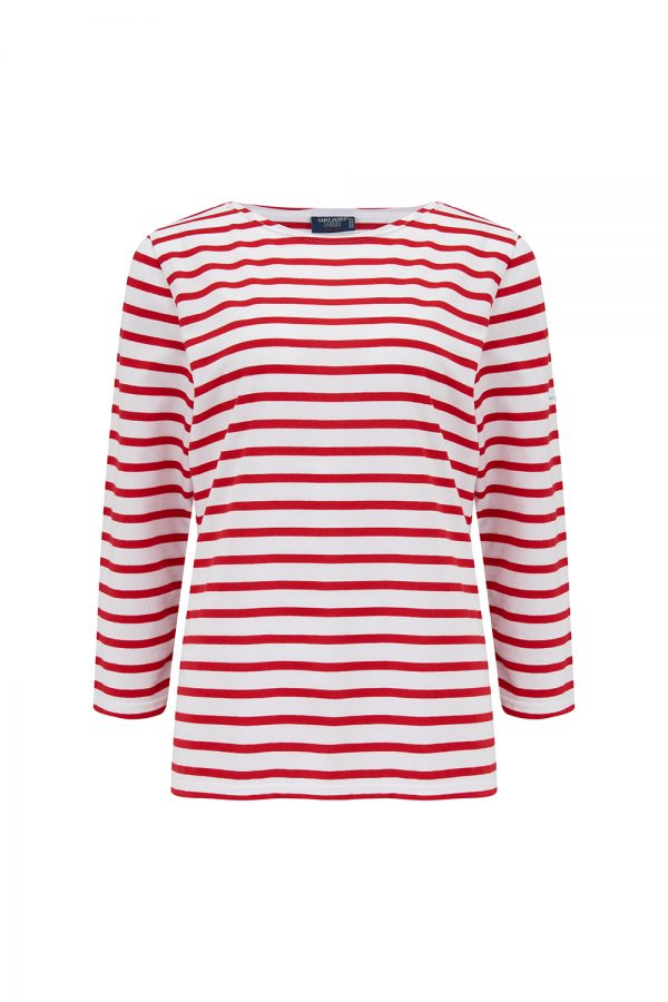 Saint James Galathee II Women's Border Stripe Top Red/White - New SS21 Collection