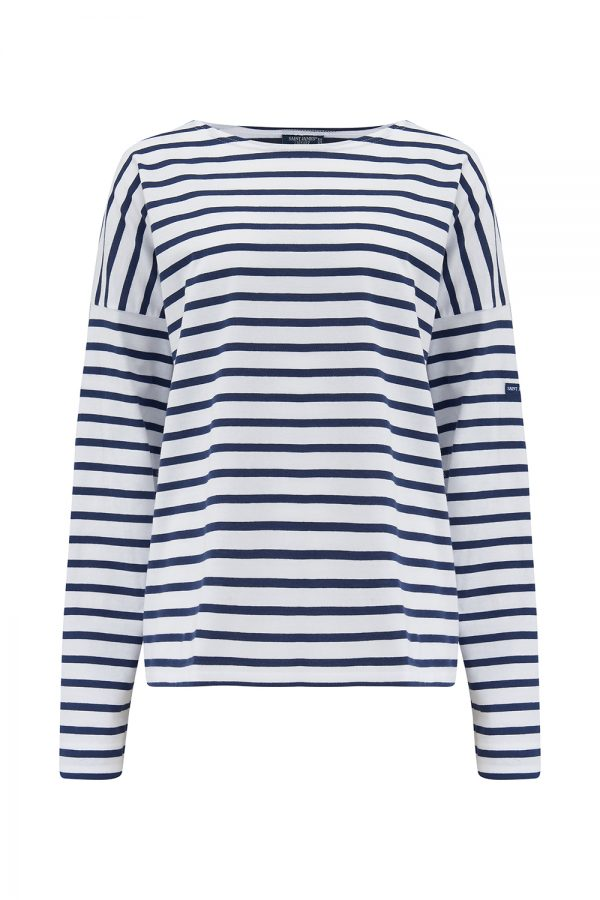 Saint James Minquiers Women's Breton Stripe T-shirt White/Navy - New SS21 Collection