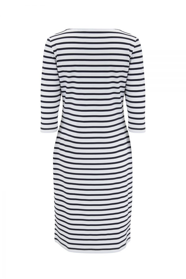 Saint James Propriano II Women's Anti-UV Striped Shirt Dress White/Navy - New SS21 Collection