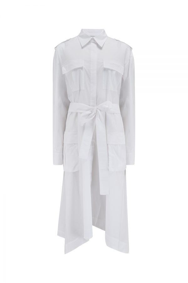 Iceberg Women's Tie Front Cotton Shirt Dress White - New SS21 Collection