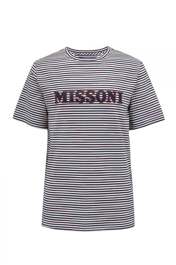 Missoni Men's Logo-print Striped T-shirt Navy - New W21 Collection