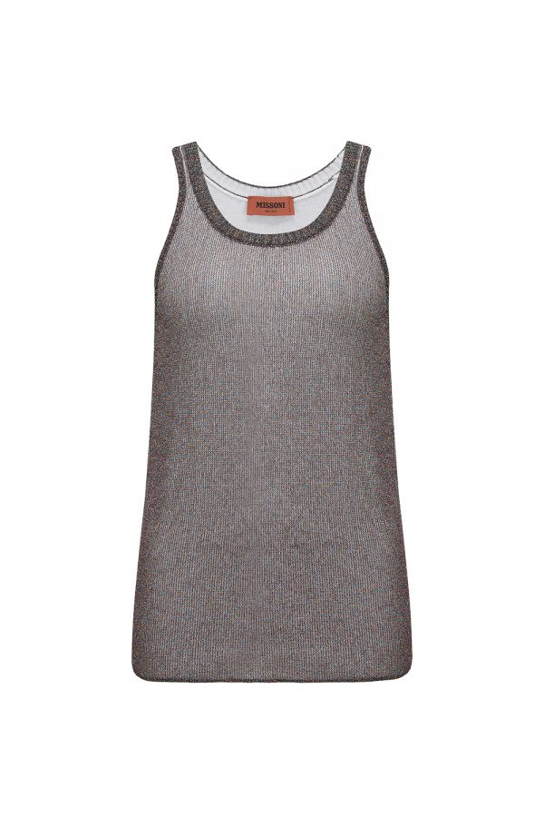 Missoni Women's Lamé Knitted Tank Top Purple - New W21 Collection
