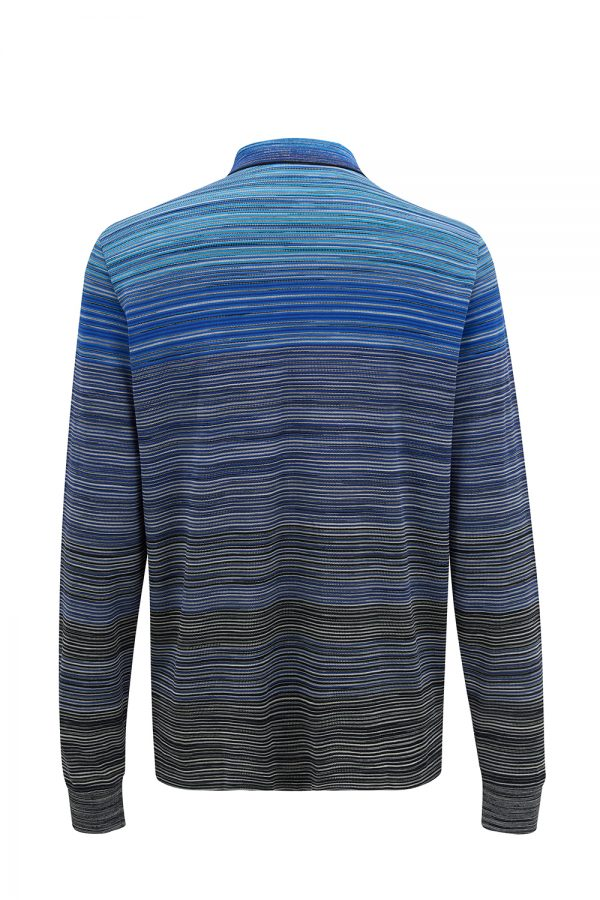 Missoni Men's Striped Long-sleeved Polo Shirt Blue - New W21 Collection