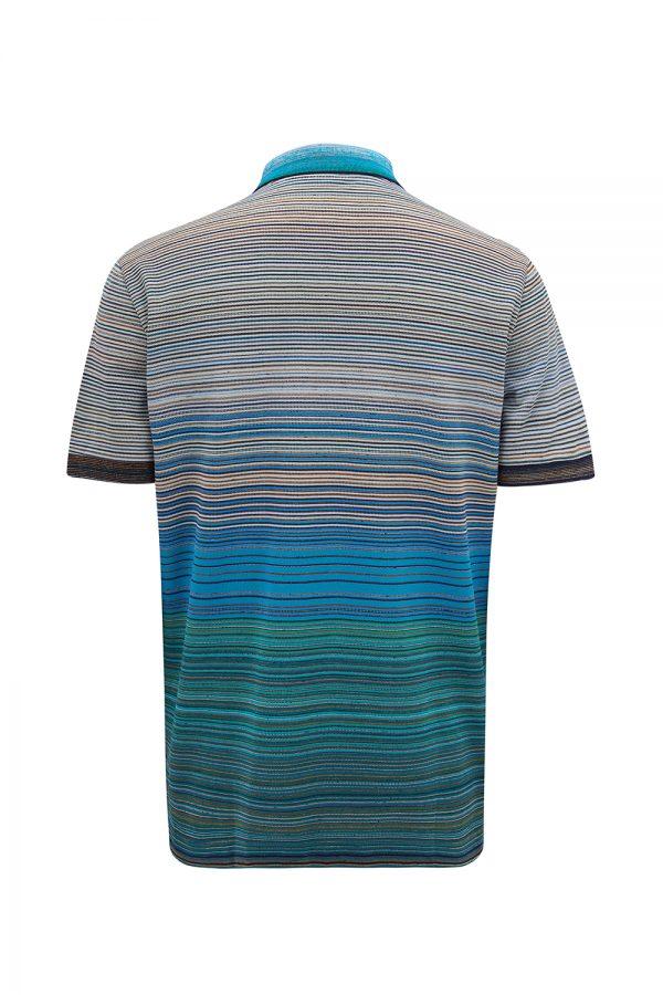 Missoni Men's Striped Cotton Polo Shirt Green - New W21 Collection